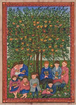 Children Seated Under Apple Tree