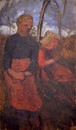 Two Girls Sitting in Landscape