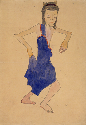 Dancing Young Girl in Blue Dress