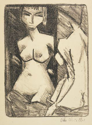 Nude Girl in Front of a Mirror